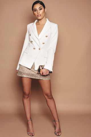 Ivory Button Detail Blazer