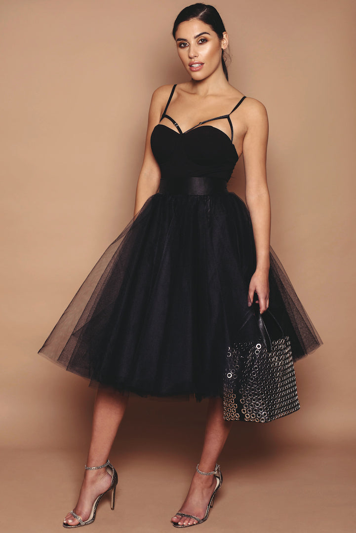 Black Standard Length Tulle Skirt