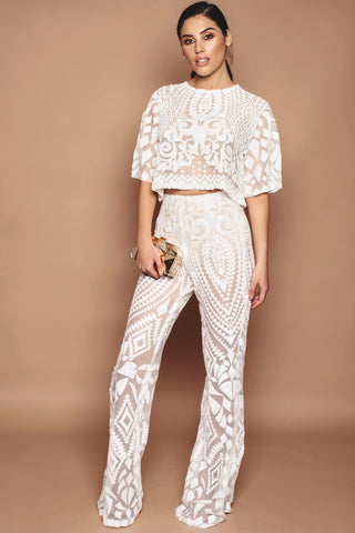 Ivory Sequin Trousers