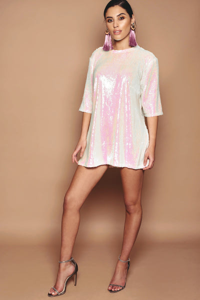 Iridescent Sequin T'Shirt Dress