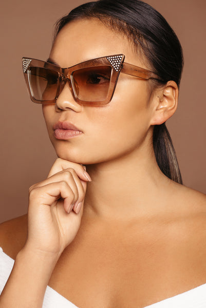 Tan Cat Eye Crystal Sunglasses