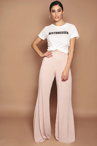 Pink Textured Soft Jersey Wide Leg Trousers