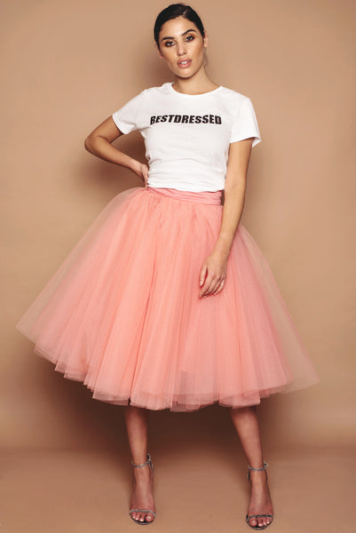 Coral Tulle Skirt