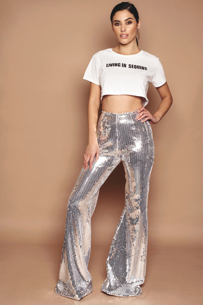 Silver Jersey Sequin Trousers