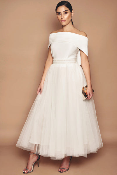 Ivory Holly Bridesmaid Dress - Tea Length