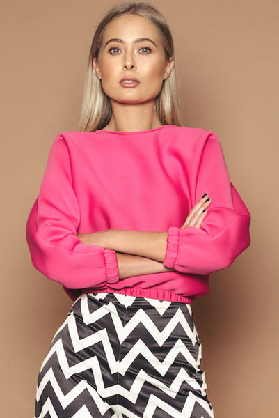 Pink Neoprene Cropped Jumper