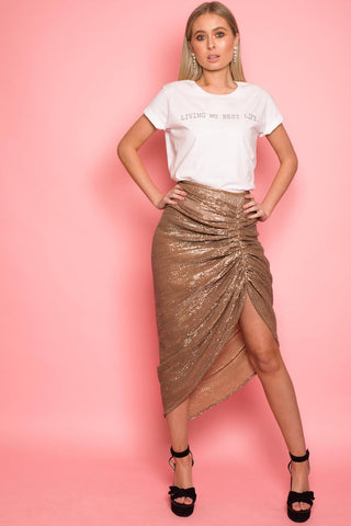 Gold Sequin Drape Skirt