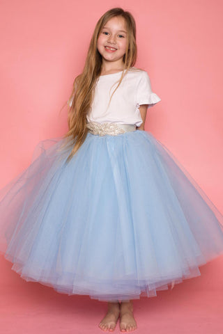 Arianna Baby Blue Layered Tulle Skirt