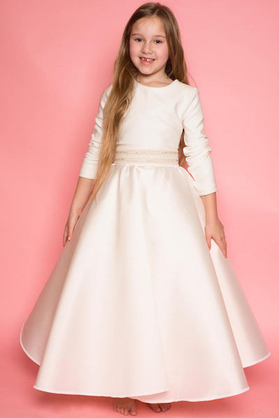 Luna Ivory Flared Satin and Scuba Dress