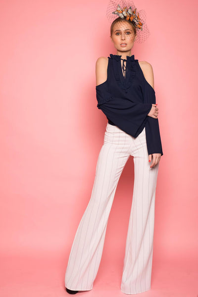 White & Navy Pinstripe Flared Trousers