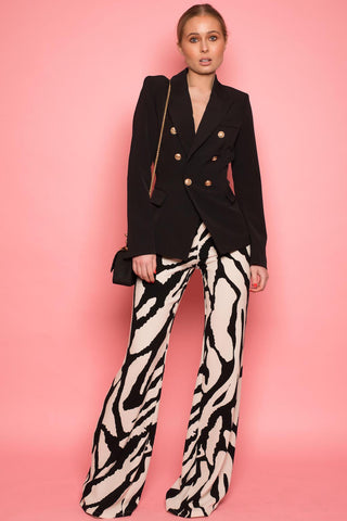 Monochrome Zebra Abstract Flared Trousers