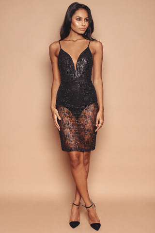 Black Sparkle Plunge Dress