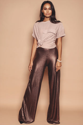 Chocolate Coloured Wide Leg Sequin Trousers