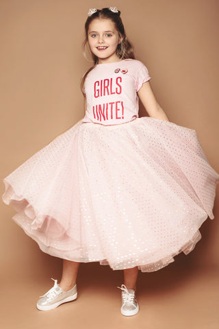 Pink Hologram Dot Mini Me Tulle Skirt