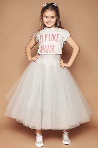 Silver Mini Me Tulle Skirt