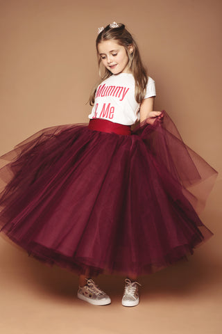 Claret Mini Me Tulle Skirt