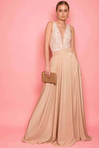 Nude Satin Maxi Skirt