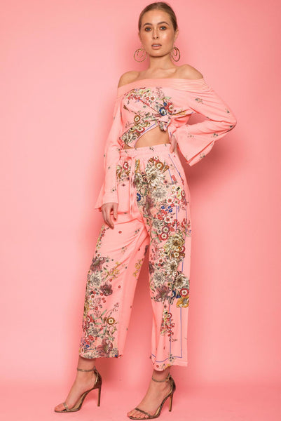 Floral Coral Satin Co-Ord's