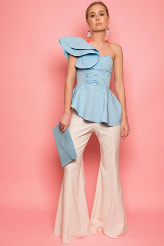 Baby Blue Tiered One Shoulder Top