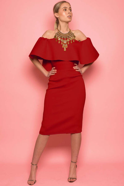 Red Crepe Scuba Frill Dress