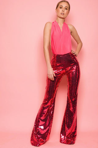 Fuchsia Sequin Jersey Trousers
