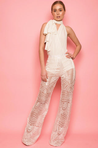 Ivory Lace Flared Trousers