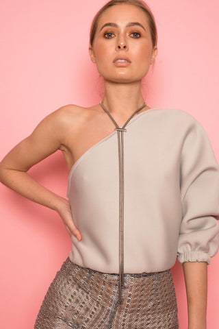 Silver Neoprene One Shoulder Top