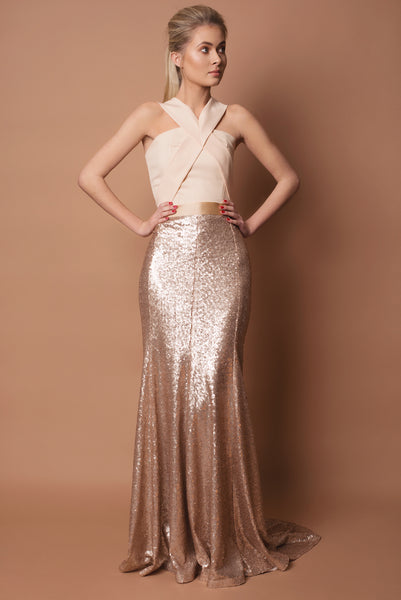 Crepe and Sequin Ilaria Bridesmaid Dress
