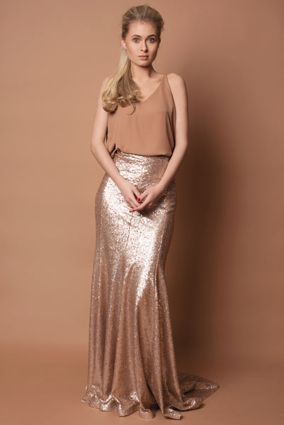 Sequin Fishtail Skirt and Camel Cami Separates