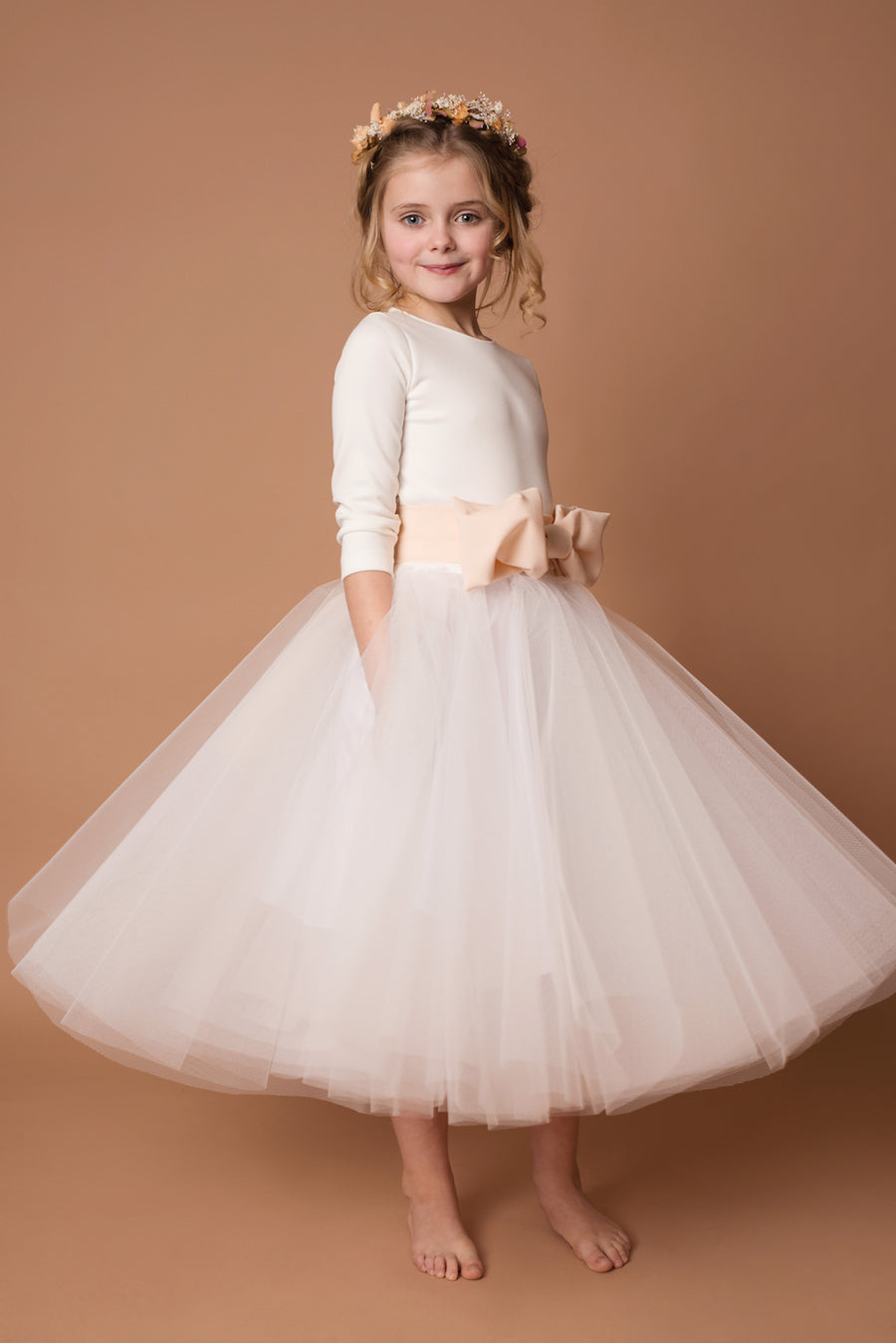 The Anise Flowergirl Dress with Bow Belt