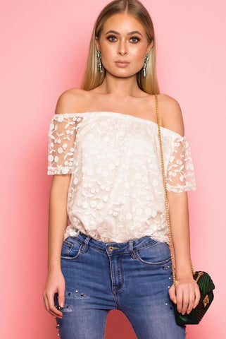 White Off Shoulder Cherry Embroidered Top