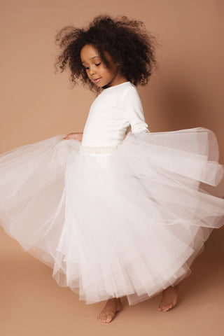 Anise Flowergirl Dress with a Pearl waistband