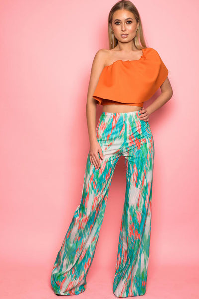 Turquoise Acid Print Flared Trousers