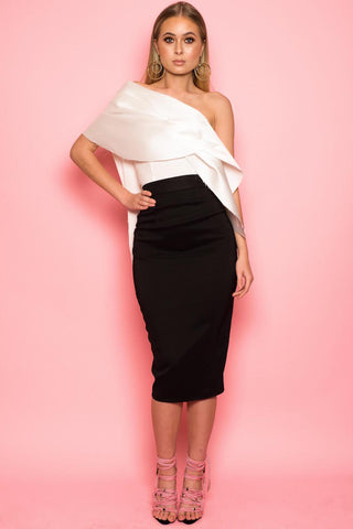 Monochrome Mikado One shoulder Drape Pencil Dress