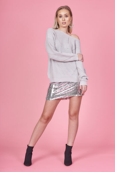 Grey Knit Chenille Jumper