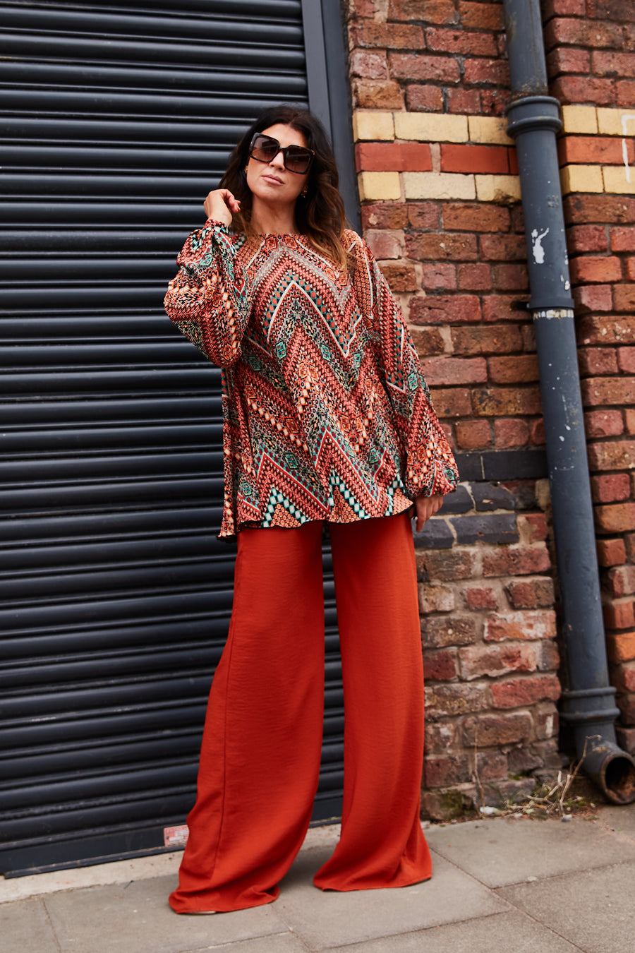Rust Printed Plisse Tunic Top