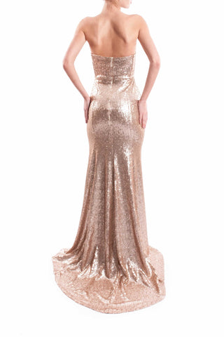 Strapless Brushed Gold Sequin Dress