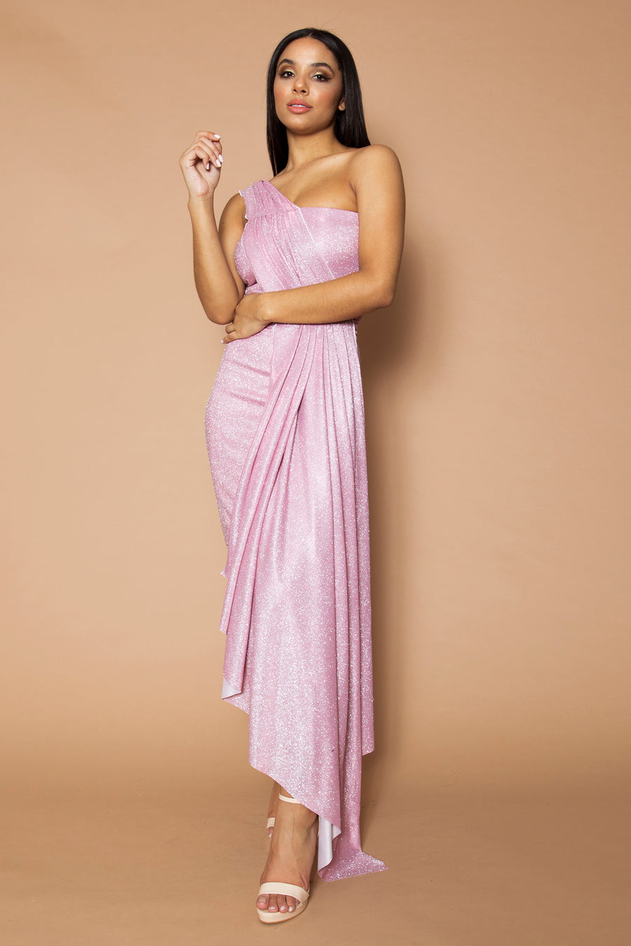Pink Lurex Drape Midi Dress