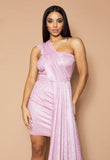 Pink Lurex Drape Mini Dress