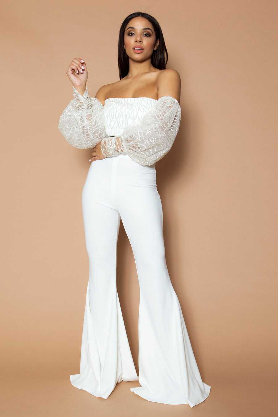 Ivory Geo Sequin Puff Sleeve Top