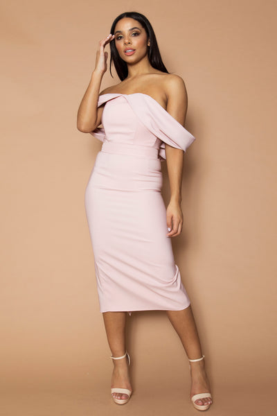 Dusty Pink Selena Pleated Midi Dress