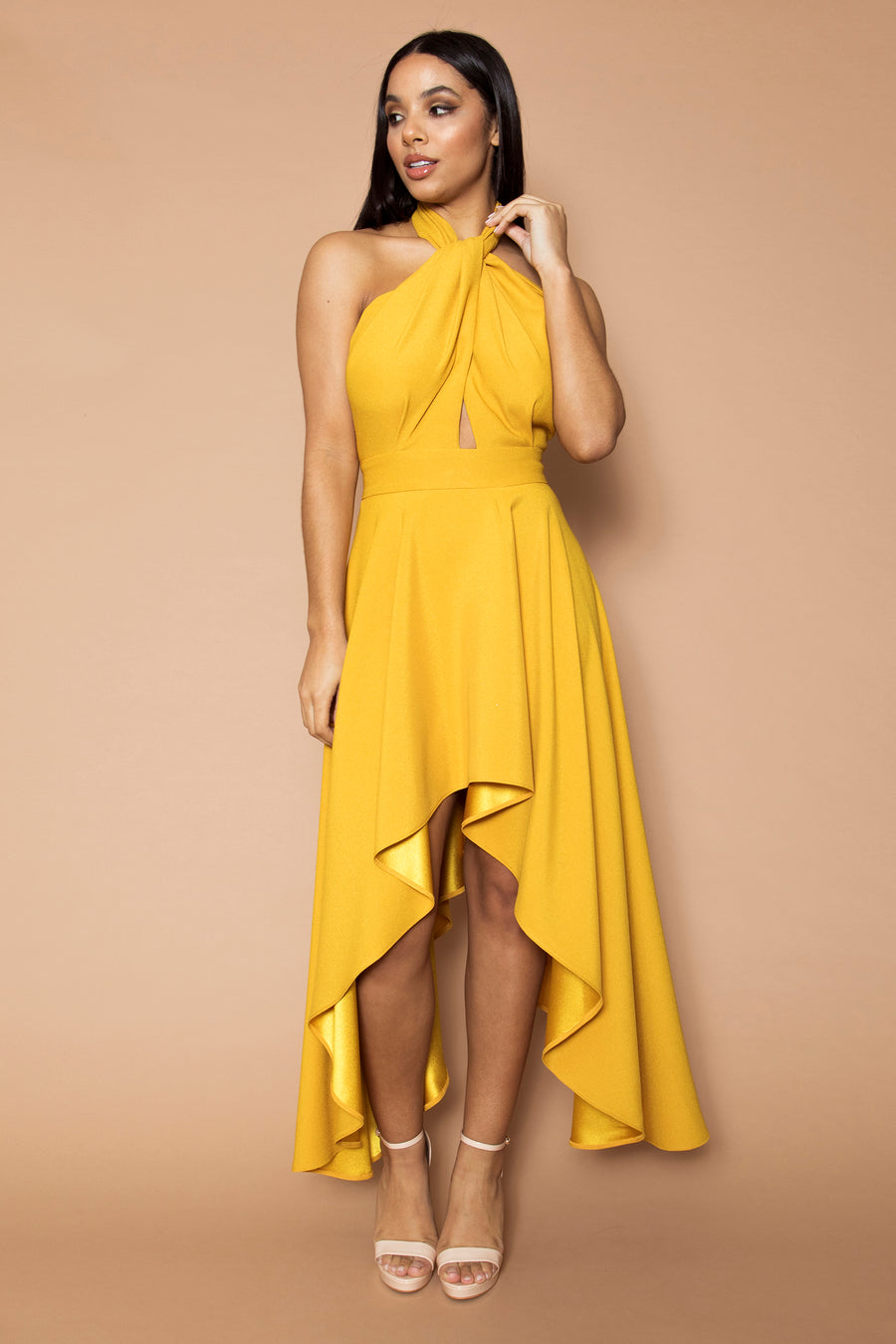 Mustard Halter Neck Dress