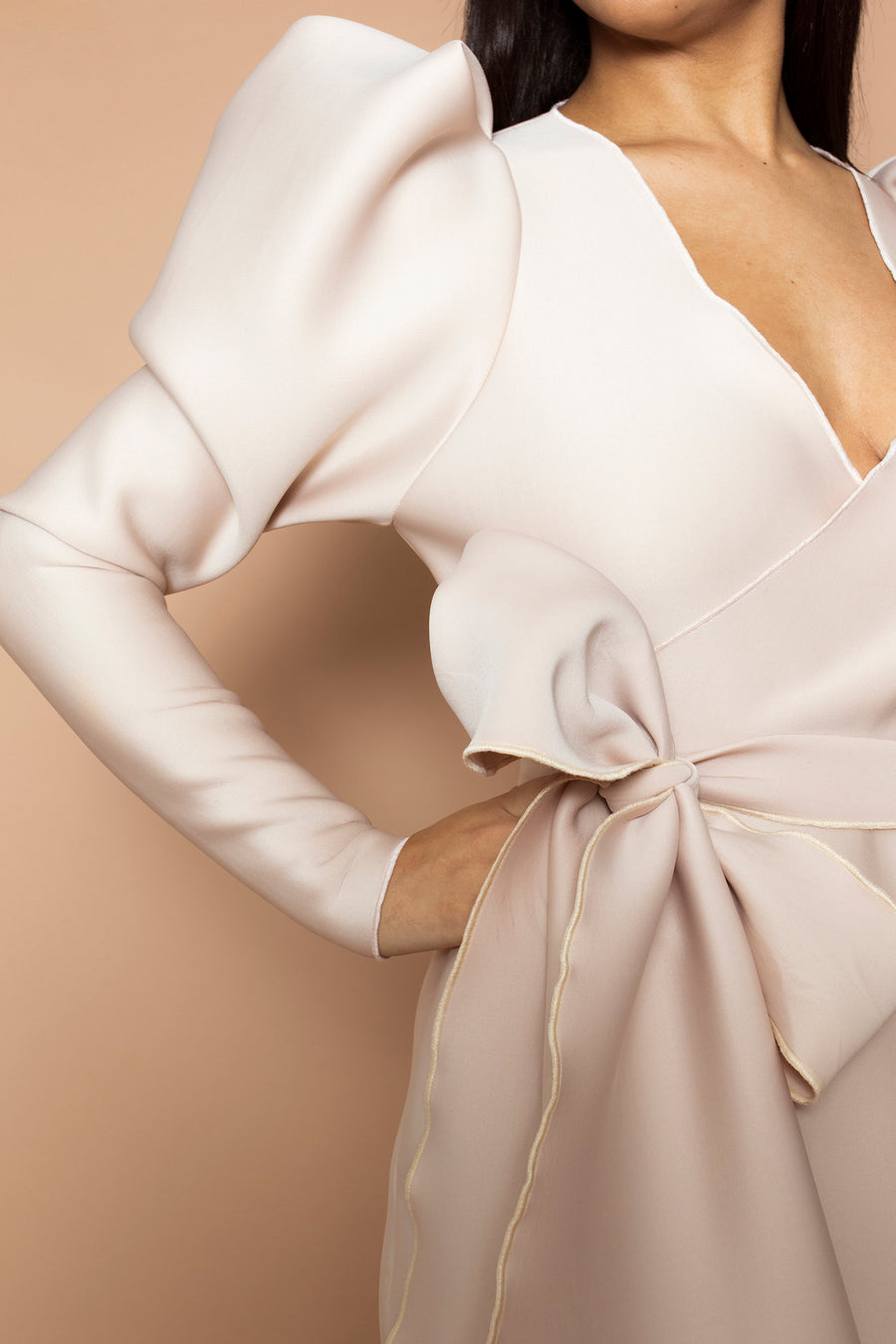 Beige Bow Detail Wrap Dress