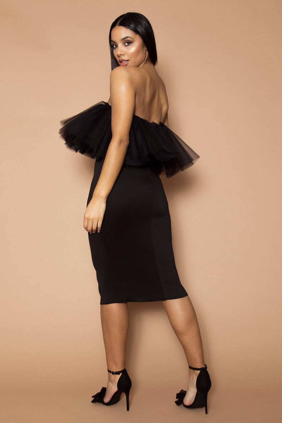 Black Bandeau Tulle Dress