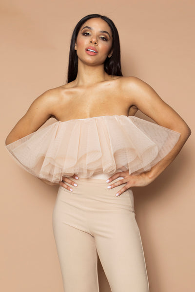 Beige Bandeau Tulle Top