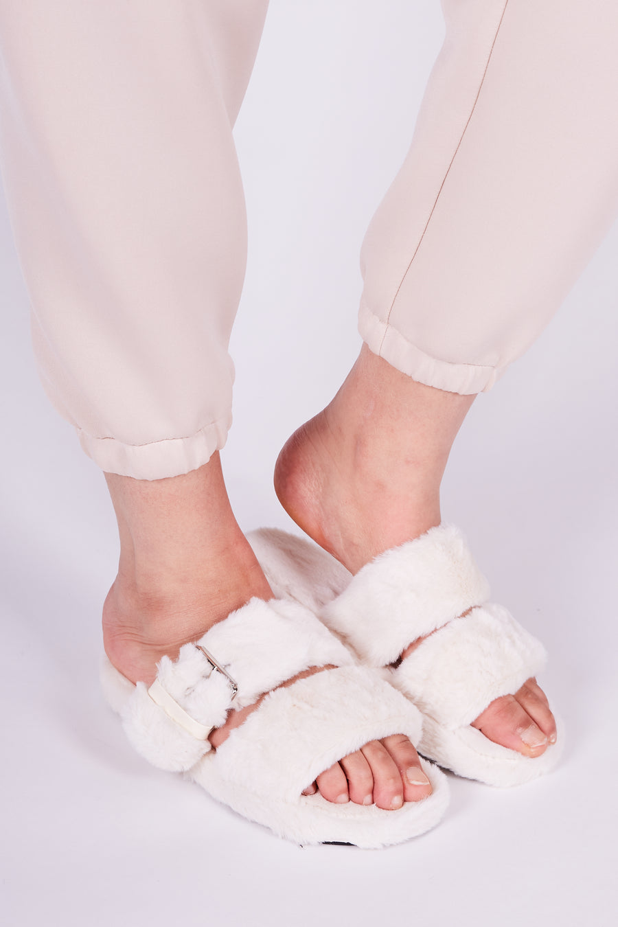 Ivory Buckle Strap Lounge Slippers