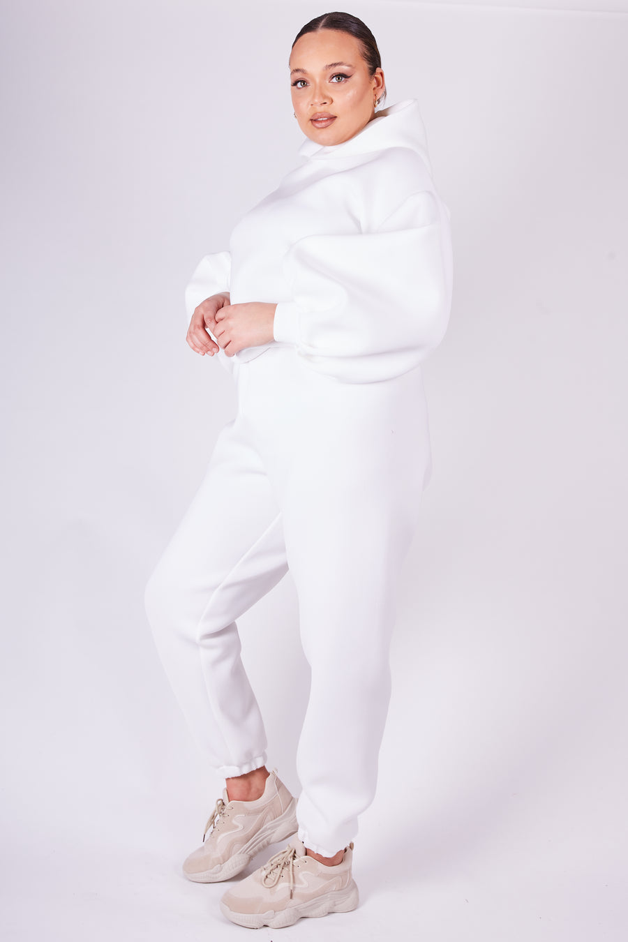 Ivory Balloon Sleeve Hoodie - SALE - Length - Cropped