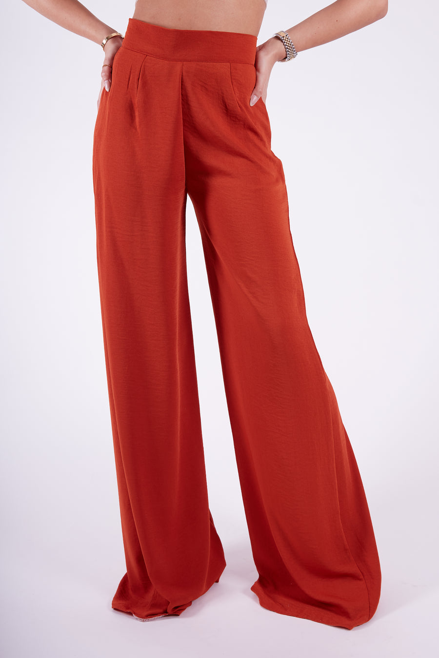 Rust Wide Leg Flares