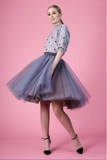 Charcoal Standard Length Tulle Skirt
