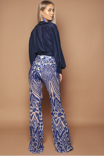 Cobalt Sequin Trousers
